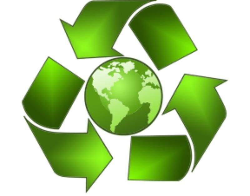 A green earth surrounded by bend arrows which are a recycling symbol